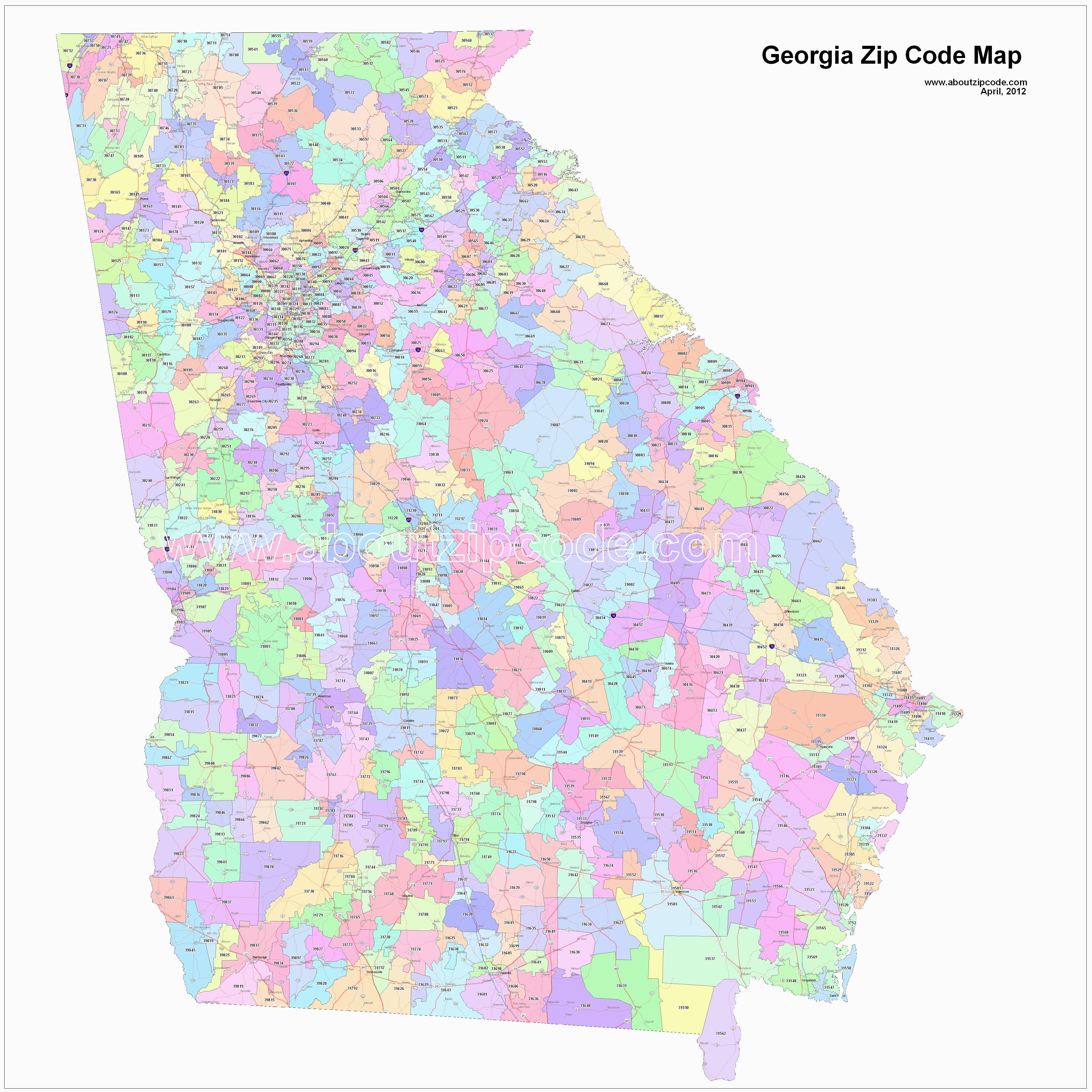 Atlanta Georgia Zip Code Map Georgia Zip Code Maps Free Georgia Zip Code Maps