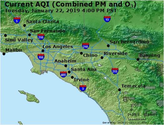 California Air Pollution Map Airnow Central La Co Ca Air Quality
