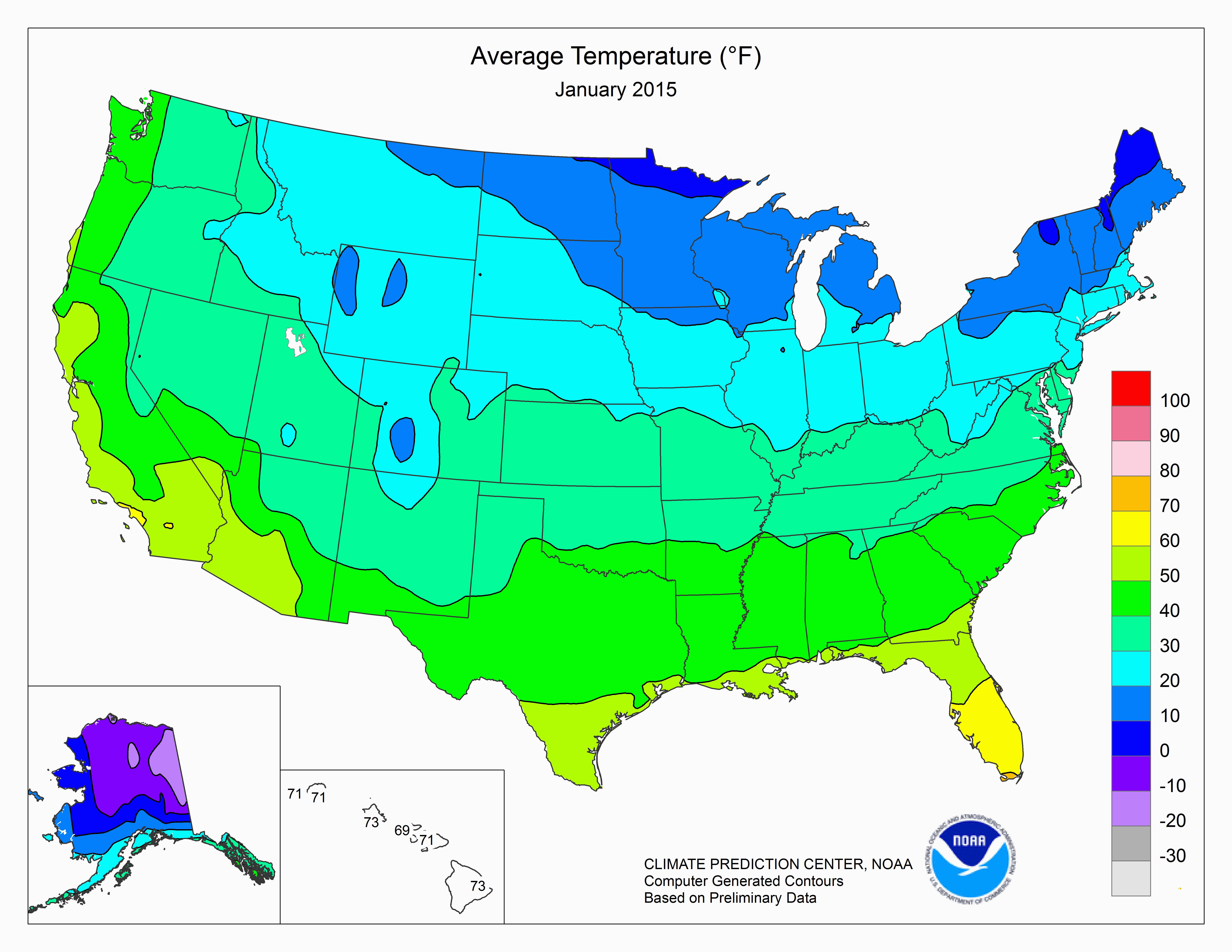 California Average Temperature Map Climate Prediction Center Monitoring and Data United States One