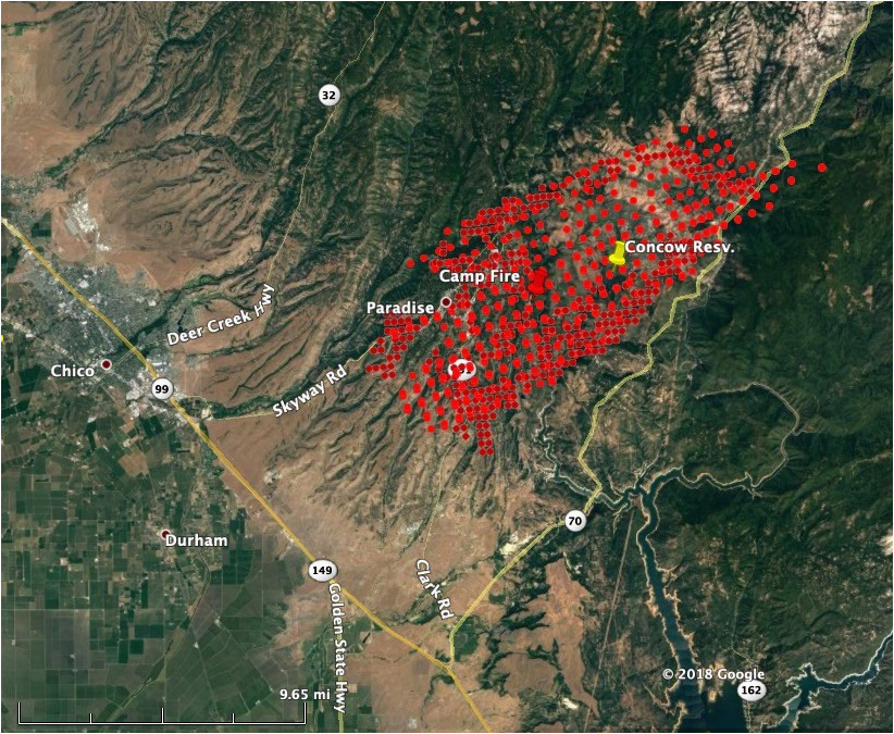 California Fire Smoke Map Wildfire Burns Into Paradise California forcing Evacuations