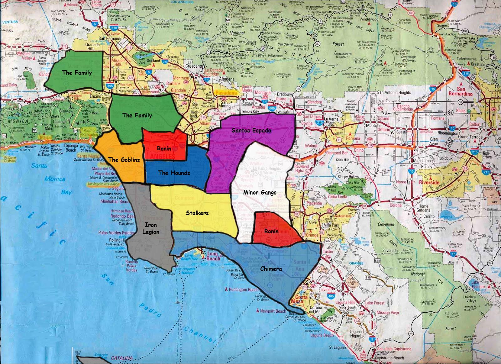California Gang Map California Gang Territory Map California California Gang Territory