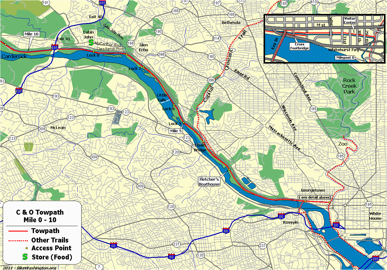 Chesapeake and Ohio Canal Map the C O Canal Bicycling Guide Mile 0 Thru 10