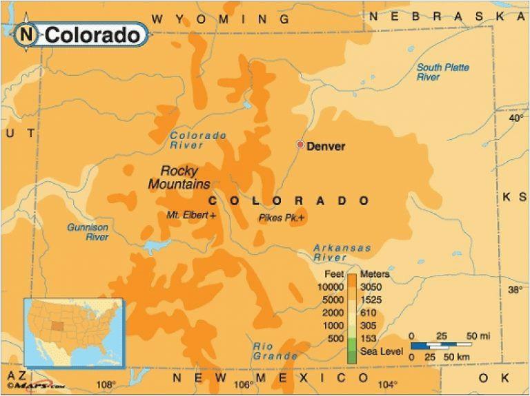 Colorado Casino Map Rocky Mountain Elevation Map 29 Cool Colorado Springs Elevation Map