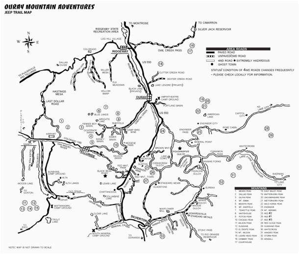 Colorado Ghost town Map Ouray Trail Map Ouray Co Map Ouray Mountain Adventures