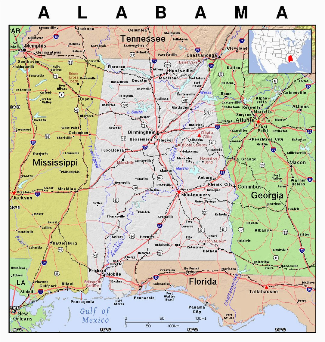 Detailed Map Of Alabama Detailed Map Of Alabama State with Relief Alabama State Usa