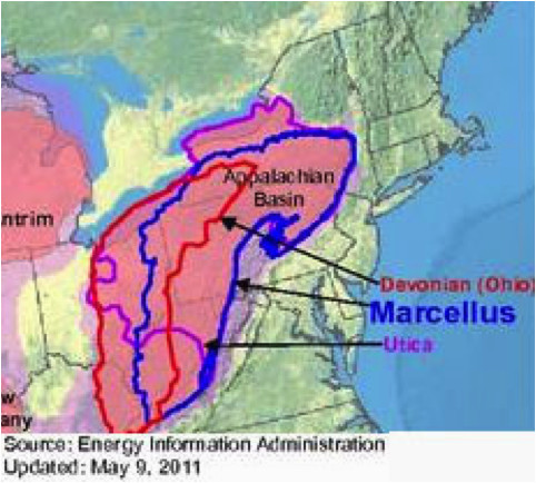 Fracking In Ohio Map Map Showing Newly Tapped Upper Devonian Shale A Layer A Few Hundred