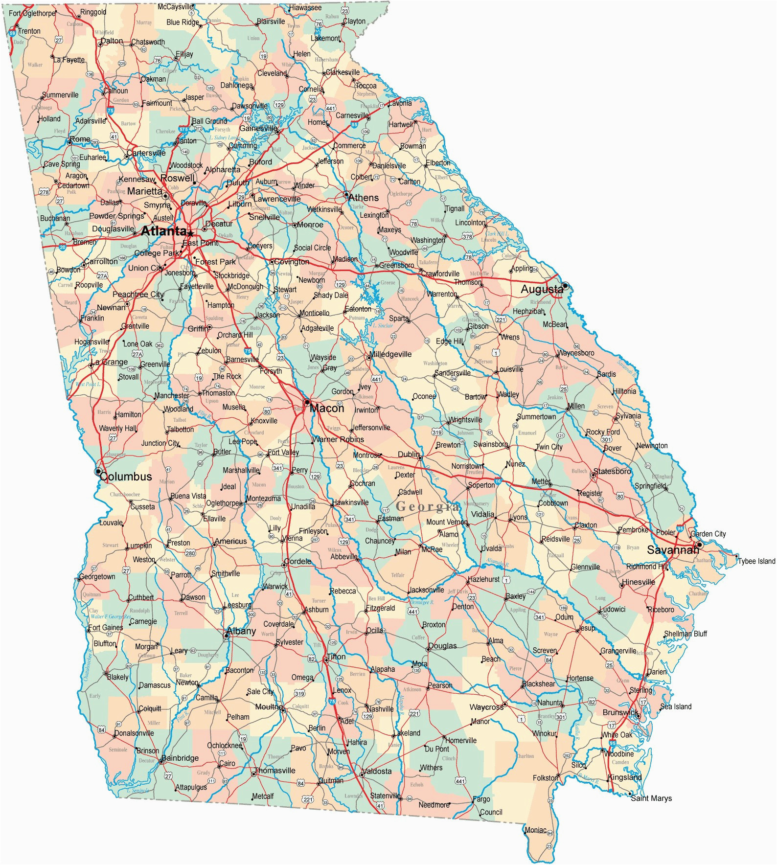 Georgia Driving Map Printable Us Driving Map Valid Driving Map southern California Valid