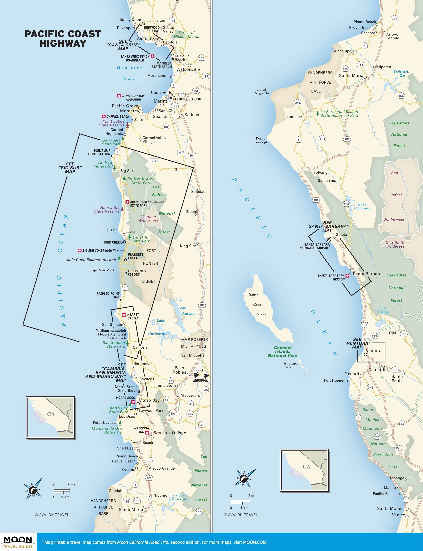 Hearst Castle California Map Map northern California Coastal Cities Ettcarworld 2018 Cambria