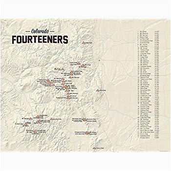 Map Of 14ers In Colorado Amazon Com 58 Colorado 14ers Map 18×24 Poster Tan Posters Prints