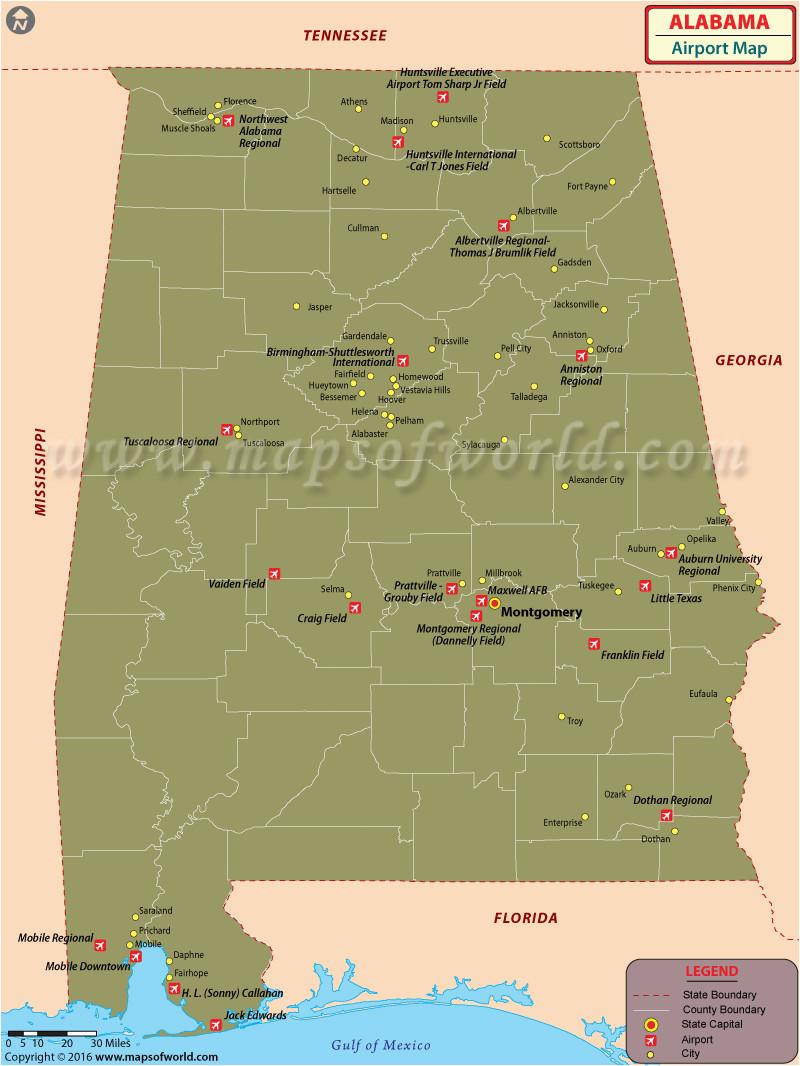 Map Of Alabama Airports Airports In Alabama Alabama Airports Map