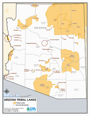 Map Of Arizona Indian Reservations List Of Indian Reservations In Arizona Wikipedia