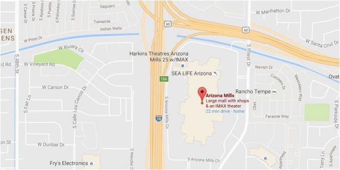Map Of Arizona Mills Arizona Mills Mall Map Ny County Map