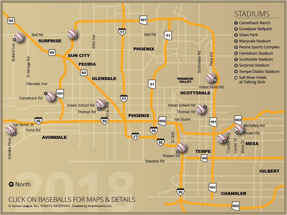 Map Of Arizona Showing Yuma Cactus League Stadium Map