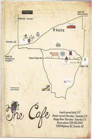 Map Of Arizona tombstone Small Map From Cafe Of Wineries Picture Of the Cafe sonoita