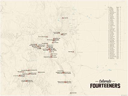 Map Of Colorado Fourteeners Amazon Com 58 Colorado 14ers Map 18×24 Poster Tan Posters Prints
