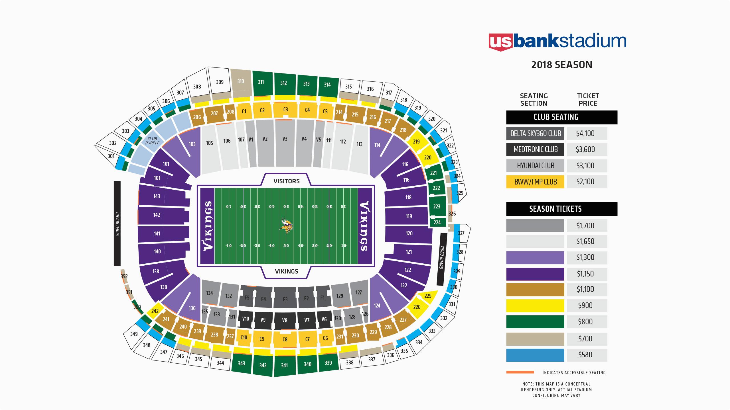 Map Of Georgia Dome Seating Vikings Seating Chart at U S Bank Stadium Minnesota Vikings