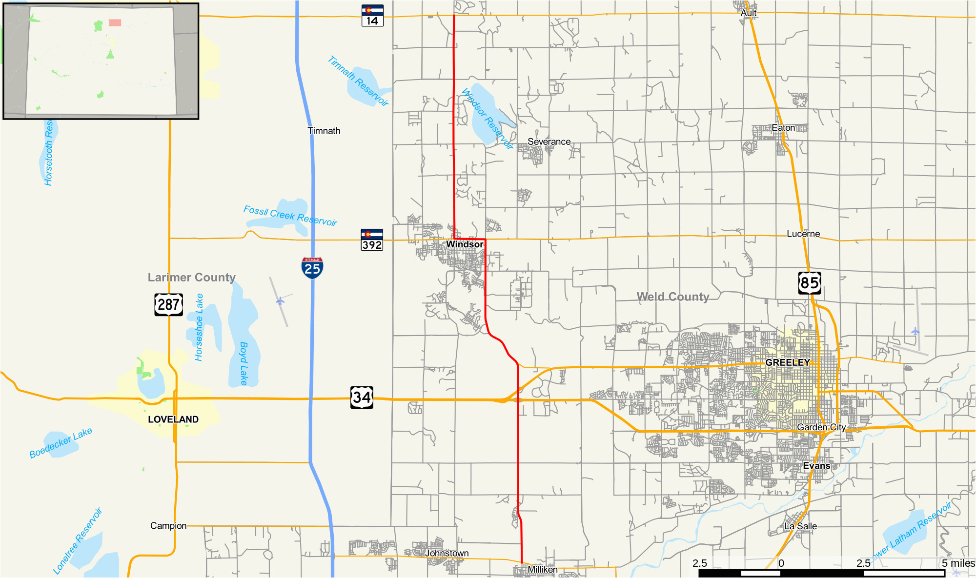 Map Of Loveland Colorado File Colorado State Highway 257 Map Svg Wikimedia Commons