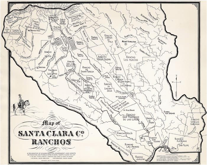 Map Of Mountain View California Ralph Rambo S Hand Drawn Map Of Santa Clara Valley Ranchos During