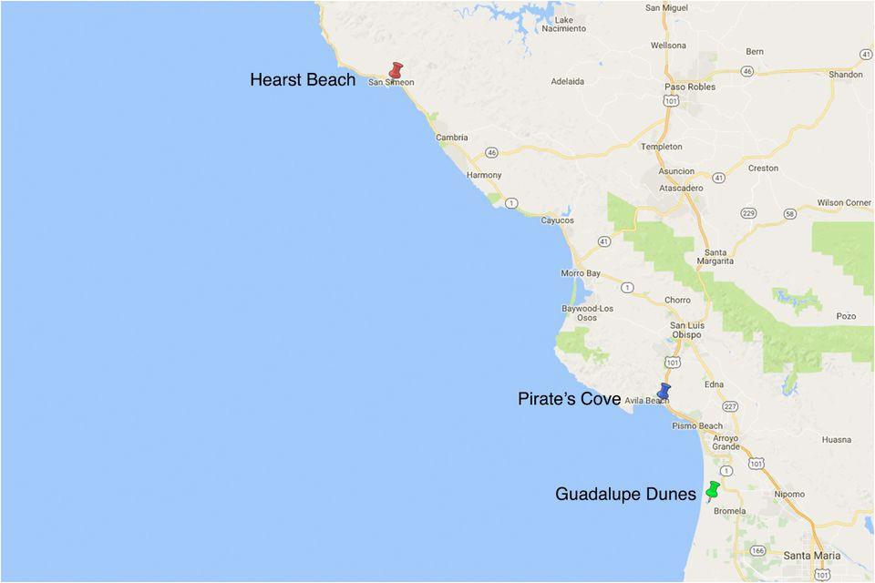 Map Of Pismo Beach California Pirate S Cove Nude Beach San Luis Obispo California