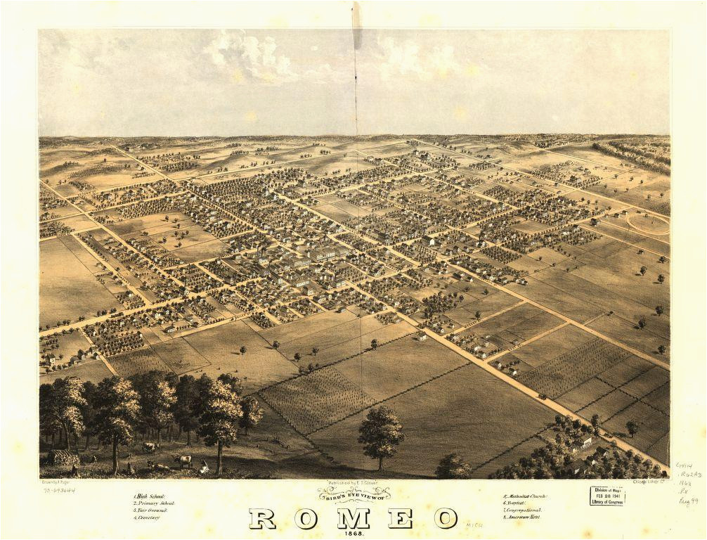 Map Of Romeo Michigan 8 X 12 Reproduced Photo Of Vintage Old Perspective Birds Eye View