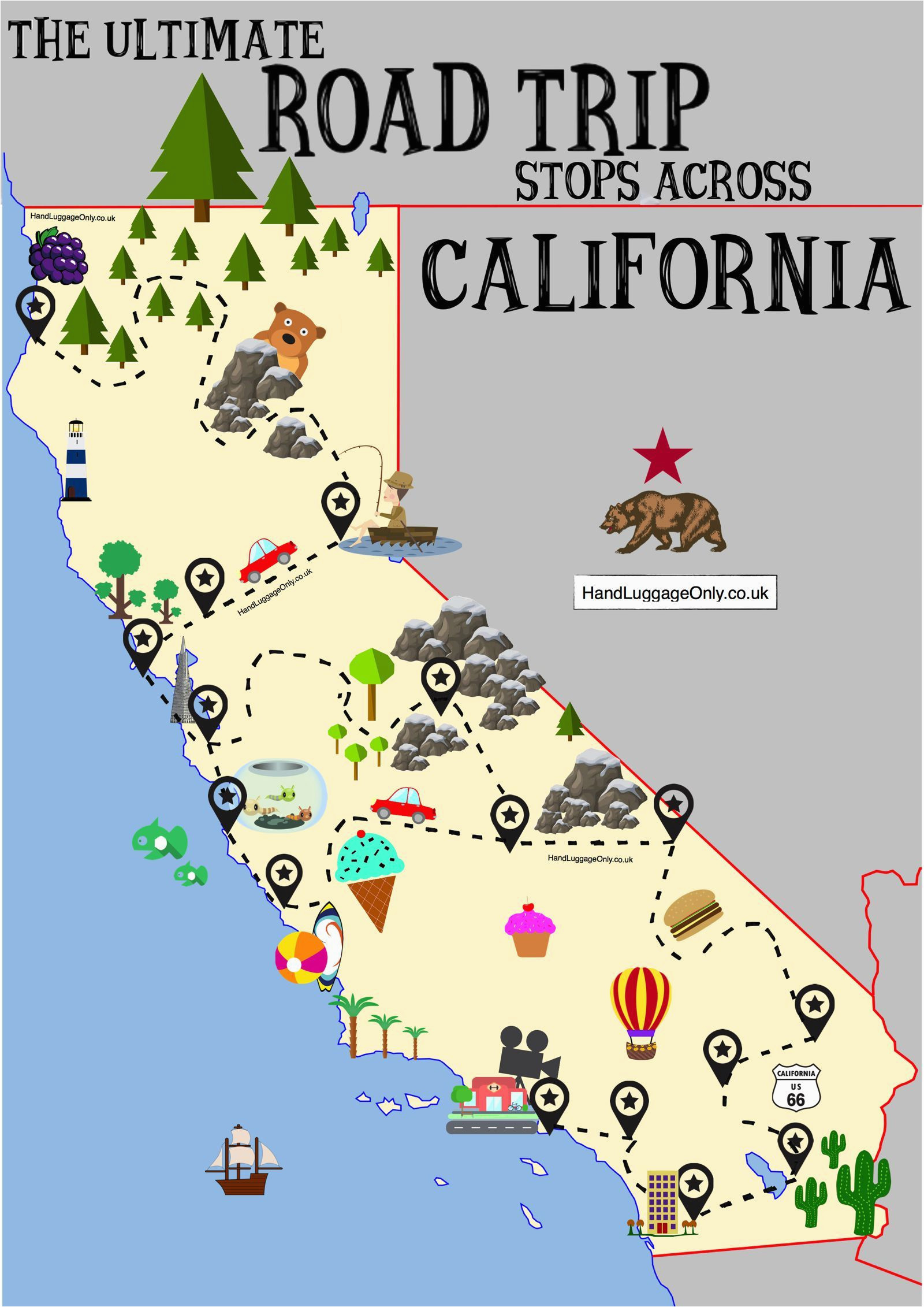 Map Of Route 1 California the Ultimate Road Trip Map Of Places to Visit In California Travel