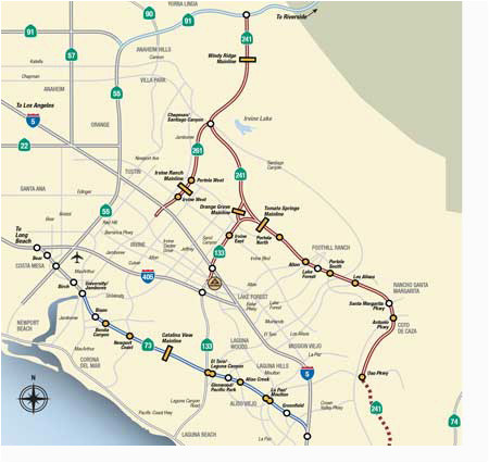 Map Of southern California Freeways Map Rates the toll Roads