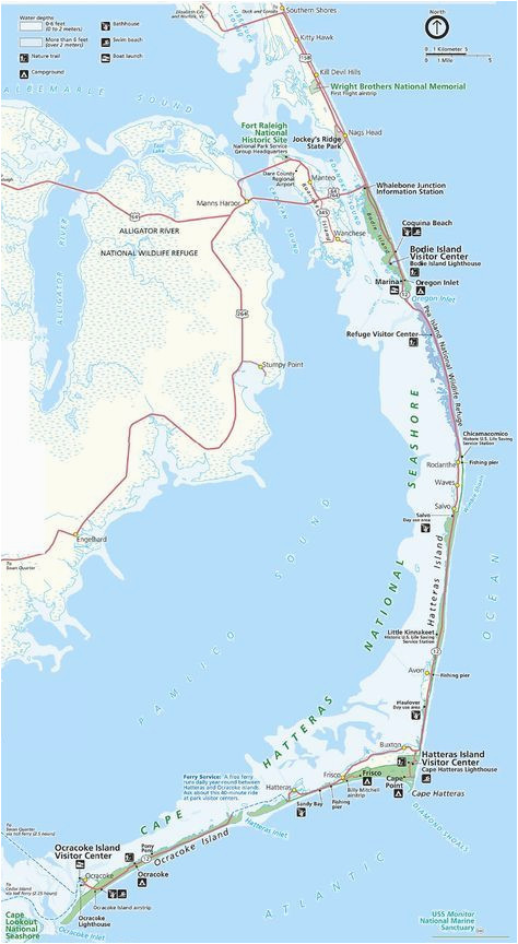 Map Of the Outer Banks Of north Carolina Map Of the Outer Banks Including Hatteras and Ocracoke islands