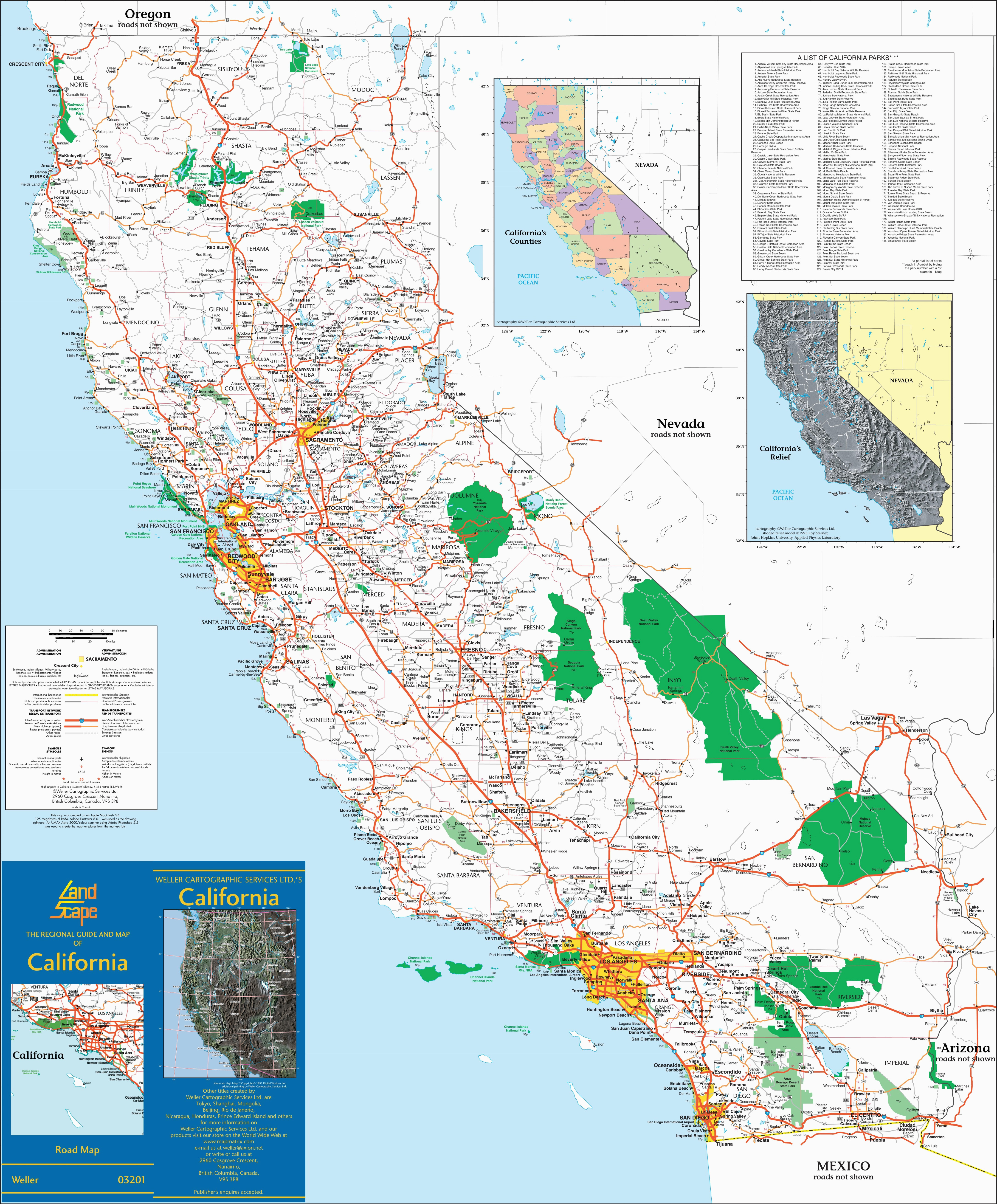 National City California Map Large Detailed Map Of California with Cities and towns