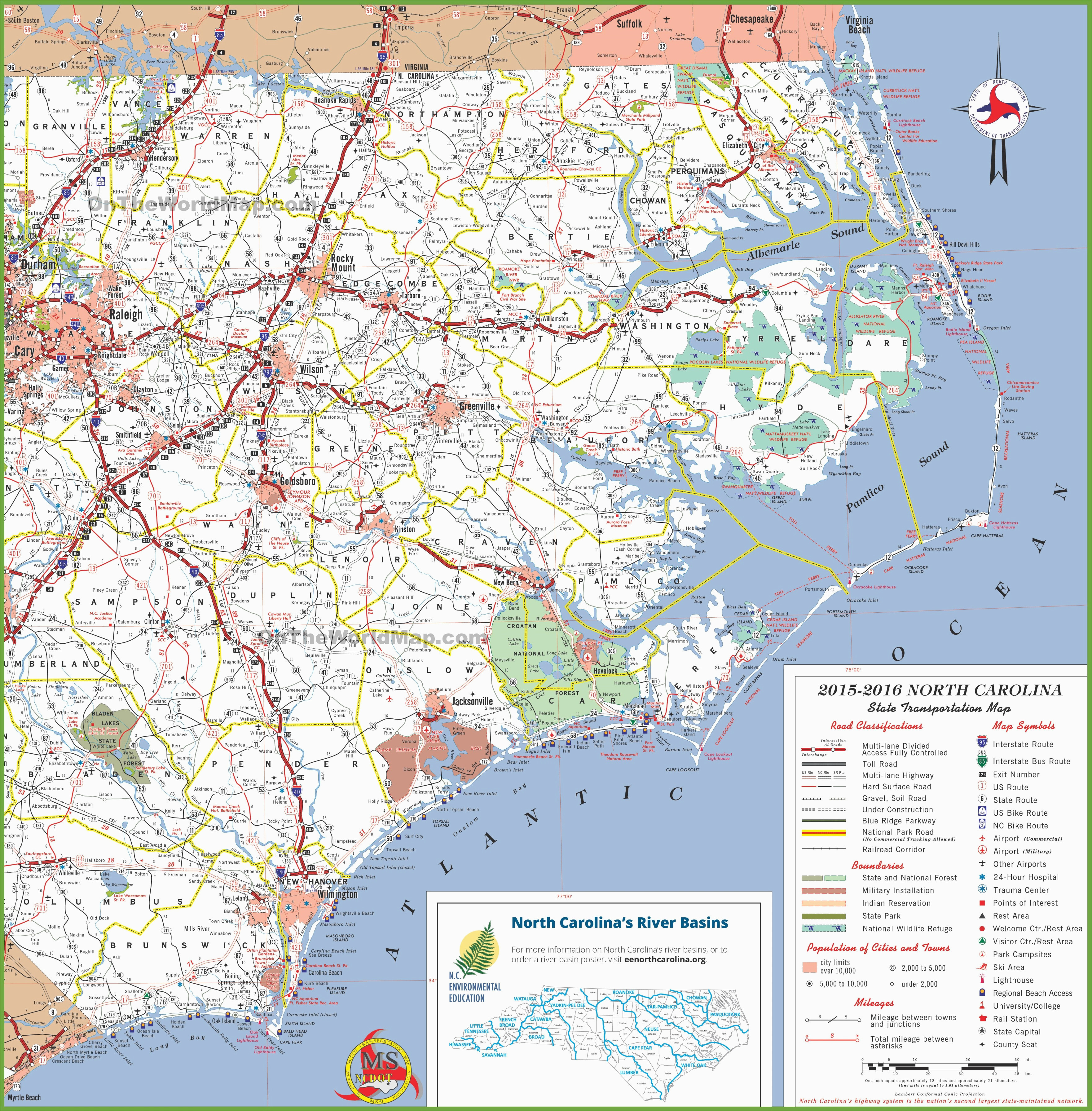 North Carolina Coast Map Cities north Carolina State Maps Usa Maps Of north Carolina Nc