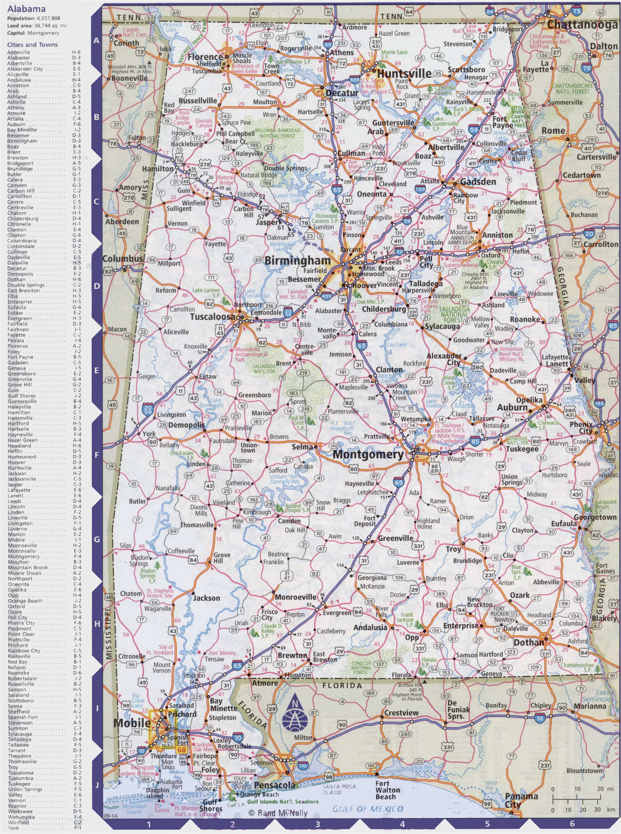 Printable Map Of Alabama Map Of Alabama with Cities and towns