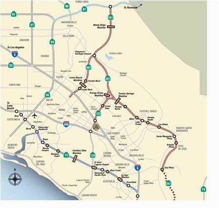 Rancho Santa Margarita California Map Map Rates the toll Roads