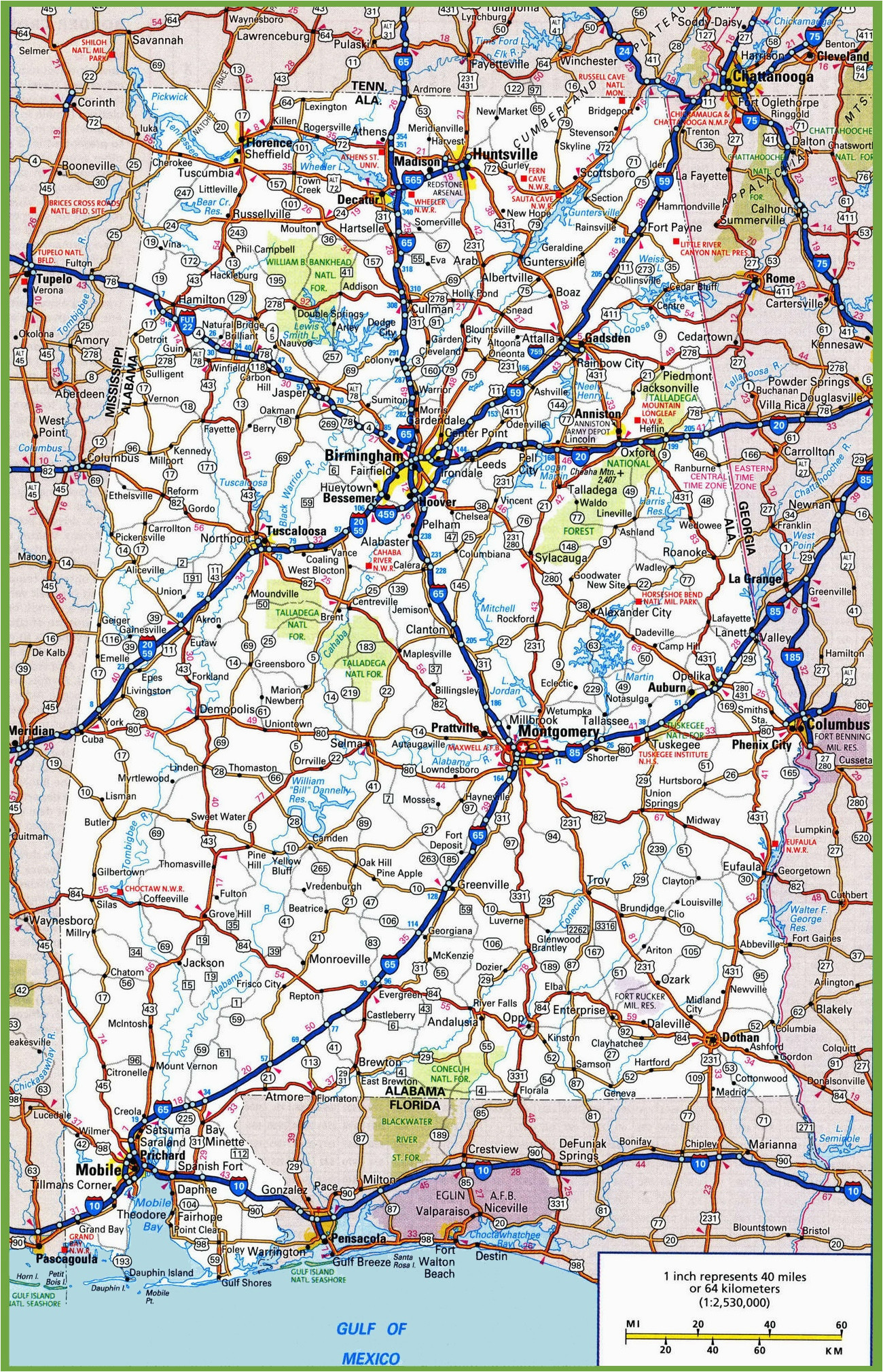 Road Map Of Alabama and Georgia Alabama Road Map