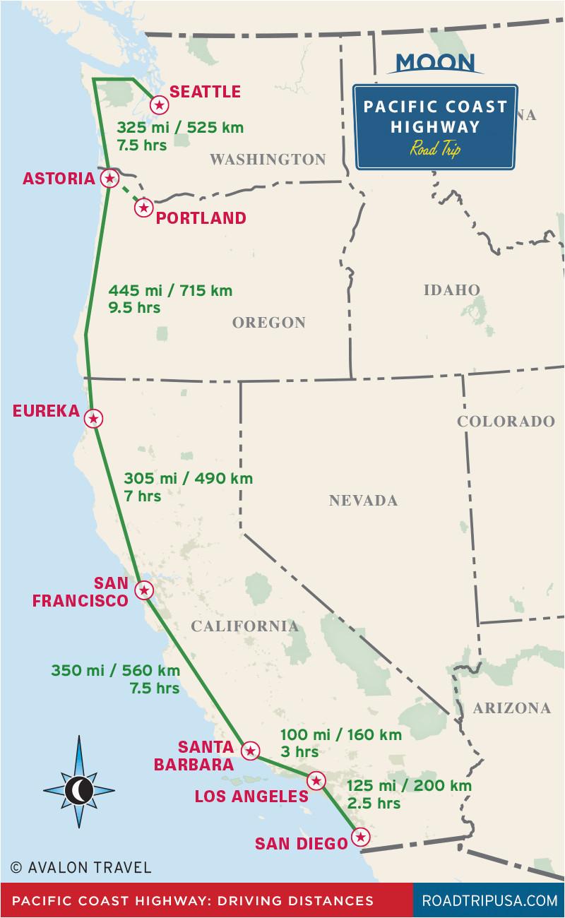 Seaside California Map the Classic Pacific Coast Highway Road Trip Road Trip Usa