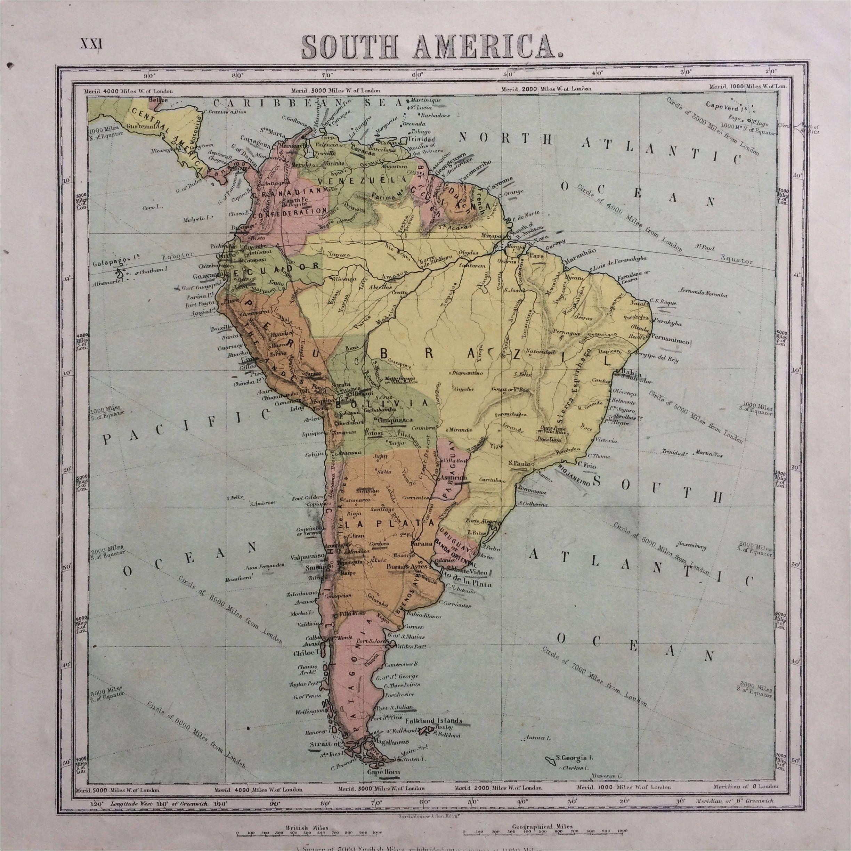 Sparta Georgia Map 1865 south America original Antique Hand Coloured Engraved Square