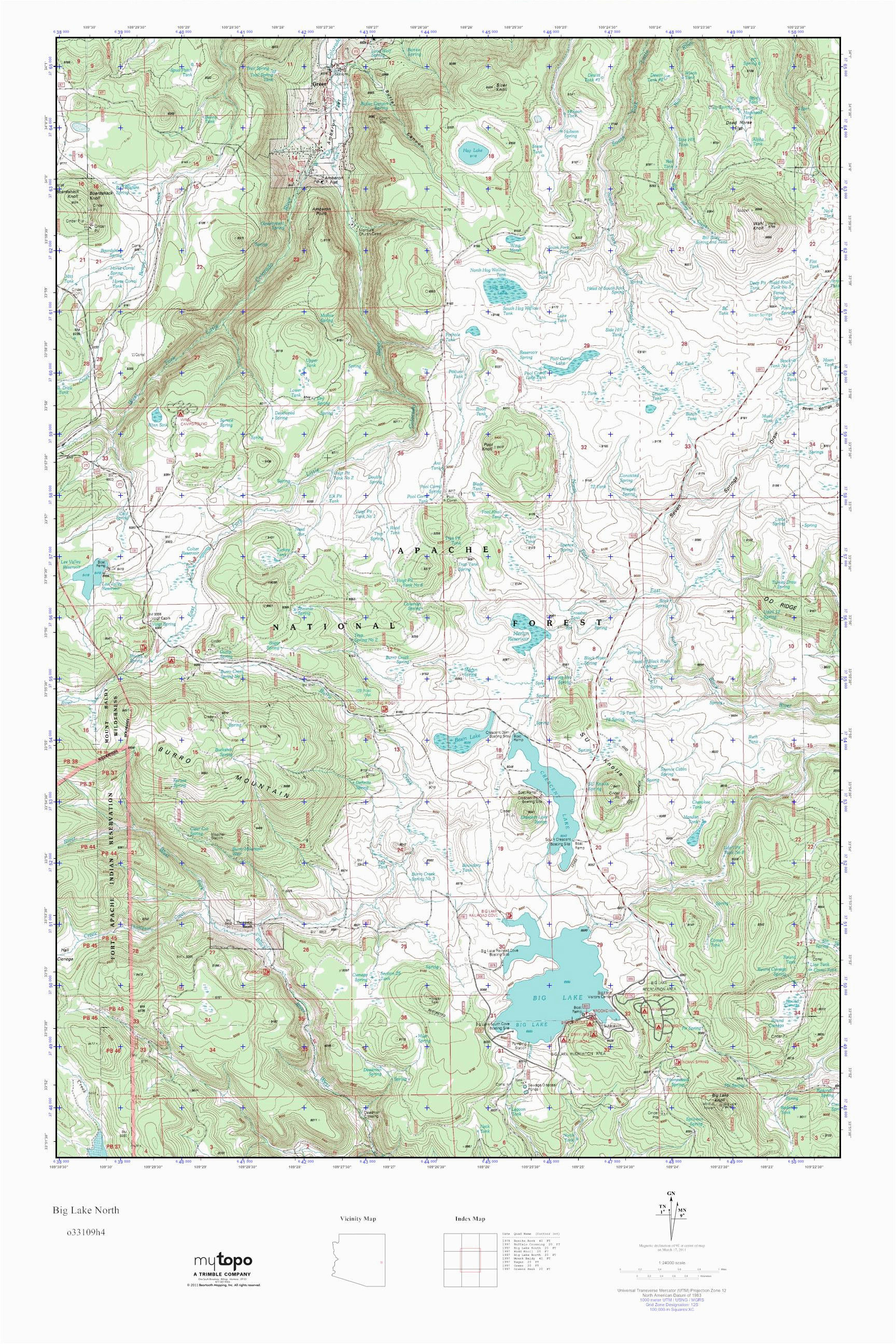 Topo Map Of Arizona Mytopo Big Lake north Arizona Usgs Quad topo Map
