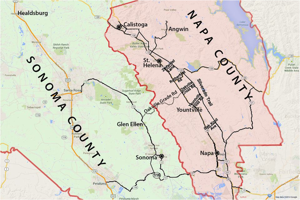 Wine Country northern California Map Wine Country Map sonoma and Napa Valley