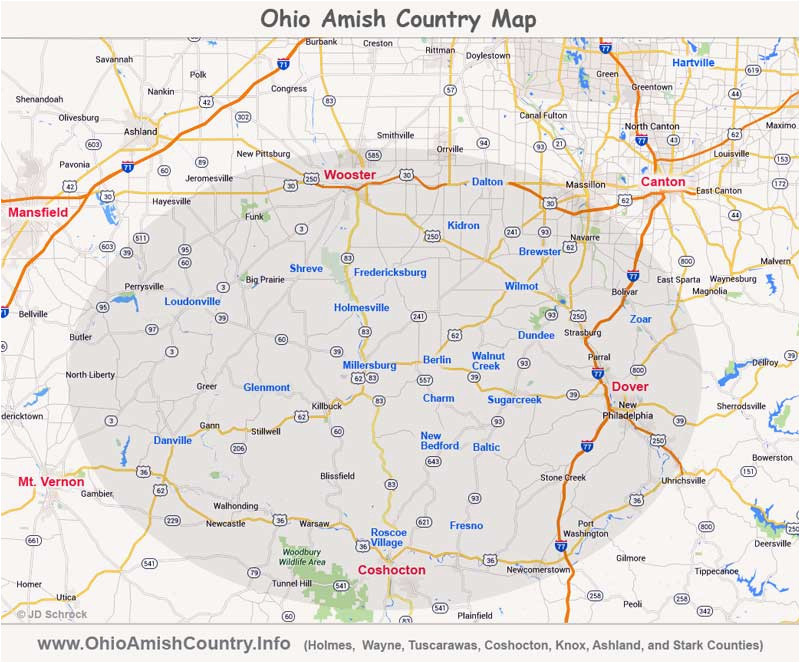 Amish Country Ohio Map Ohio Amish Country area Map Information