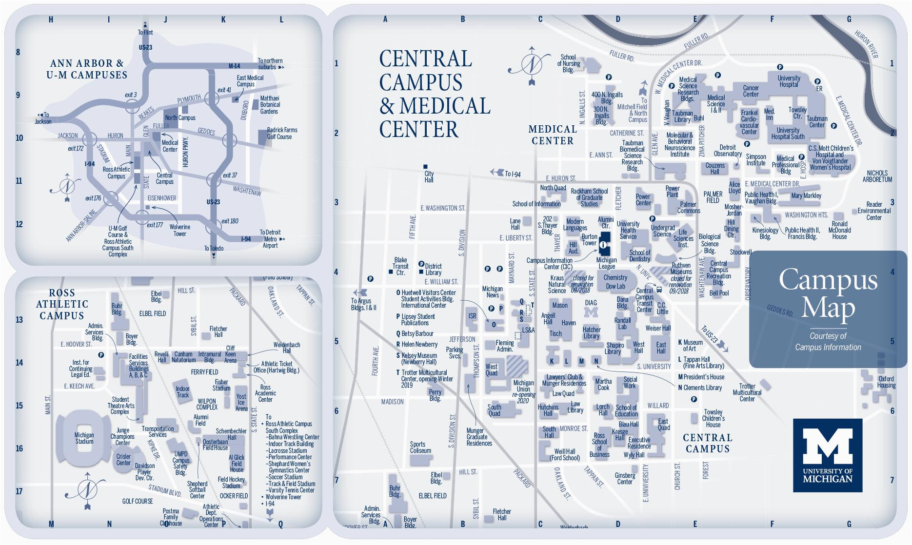 Central Michigan Campus Map Campus Maps University Of Michigan Online Visitor S Guide