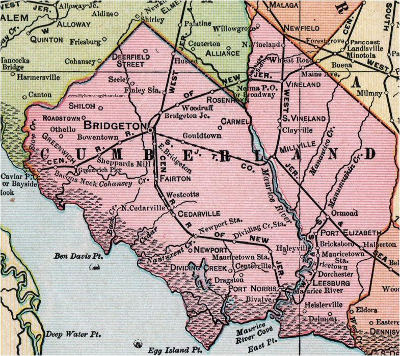 Cumberland Ohio Map Cumberland County New Jersey 1905 Map Bridgeton Millville