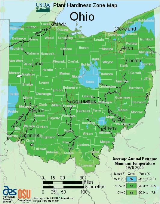 Dayton Ohio Weather Map Map Of Usda Hardiness Zones for Ohio
