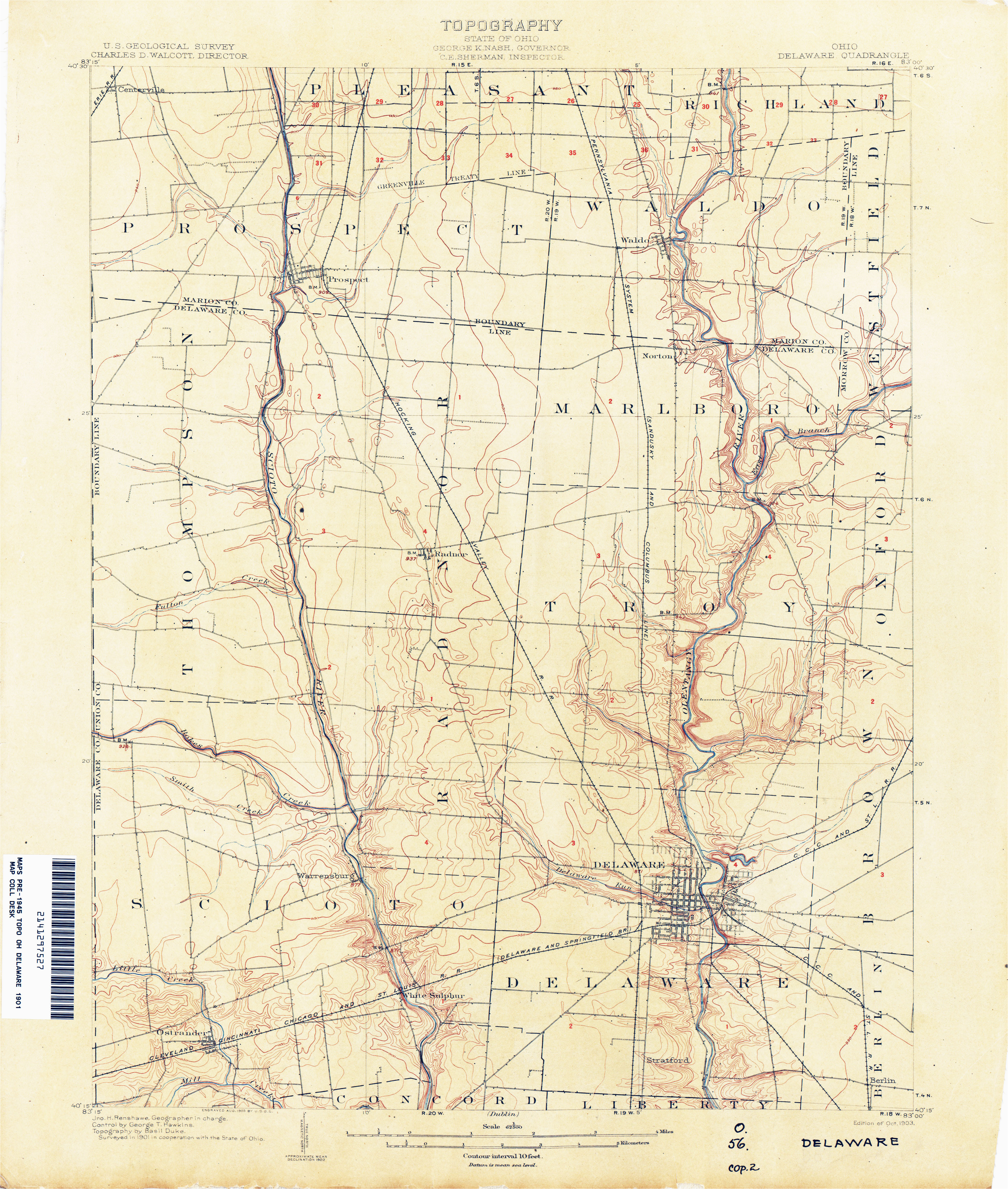 Delaware County Ohio Map Ohio Historical topographic Maps Perry Castaa Eda Map Collection