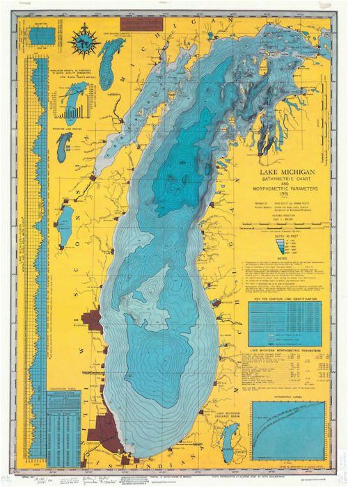 Depth Map Of Lake Michigan 1900s Lake Michigan U S A Maps Of Yesterday In 2019 Pinterest