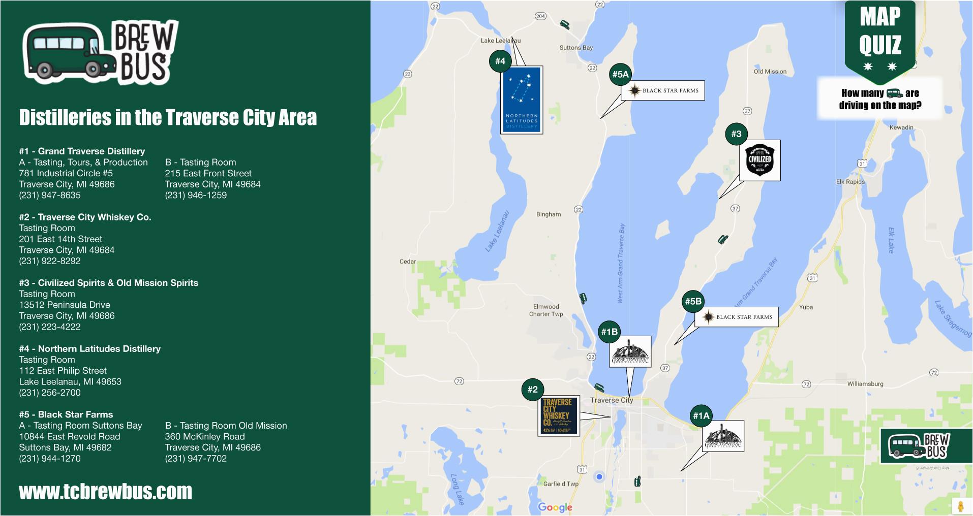 Lake Michigan Wine Trail Map tour the Distilleries In Traverse City Tc Brew Bus