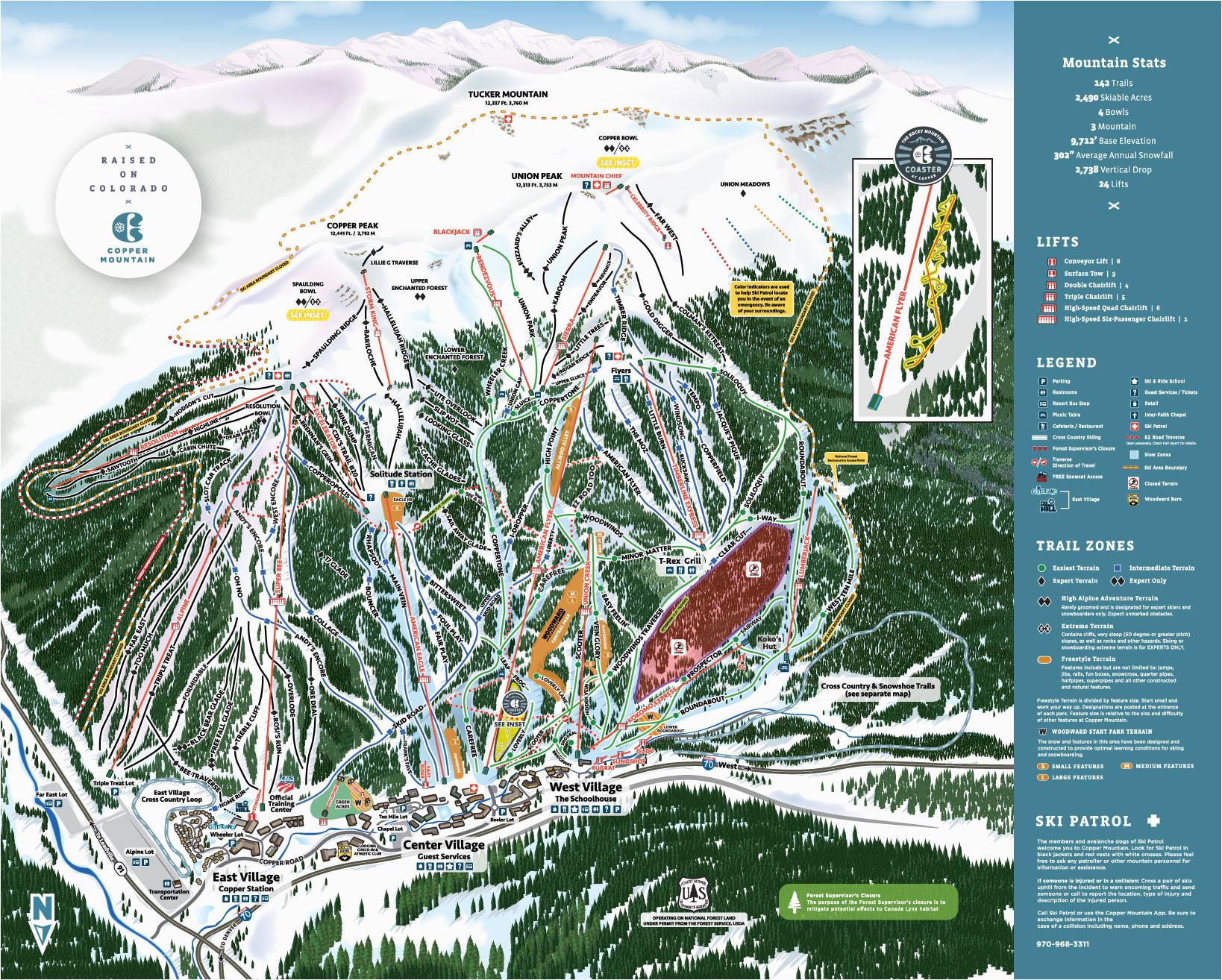 Map Colorado Ski areas Copper Winter Trail Map