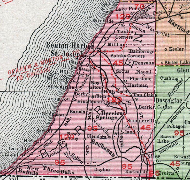 Map Of Berrien County Michigan Berrien County Michigan 1911 Map Rand Mcnally St Joseph