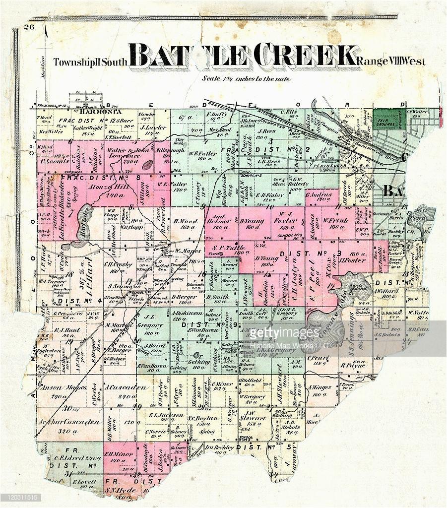 Map Of Calhoun County Michigan Michigan 1873 Battle Creek township Calhoun County Stock