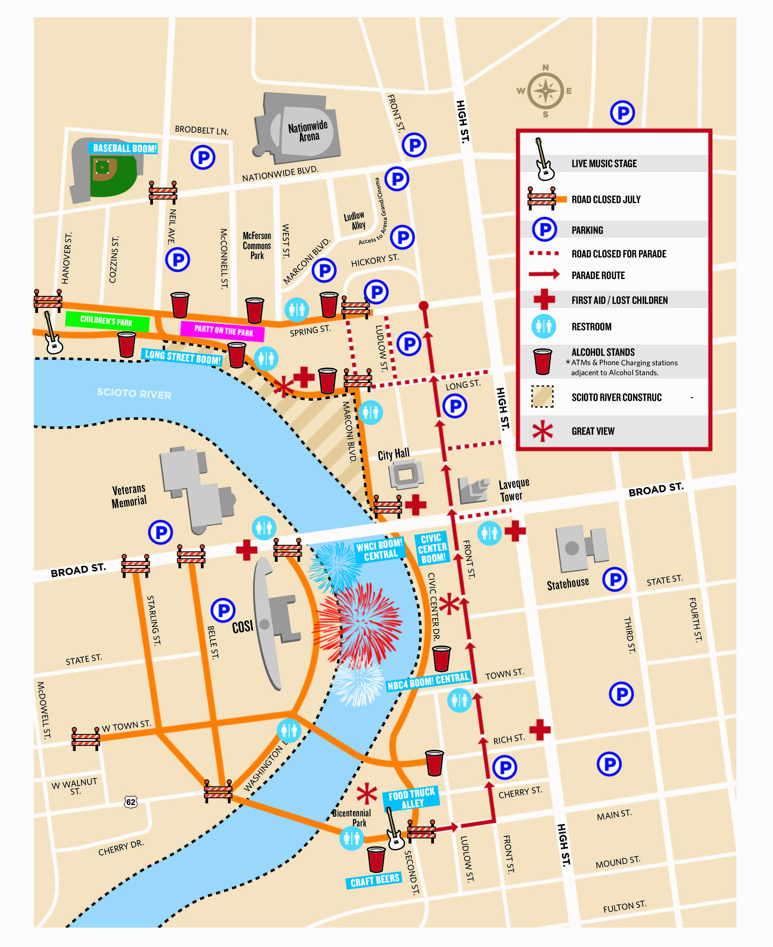 Map Of Columbus Ohio Airport event Guide Red White Boom