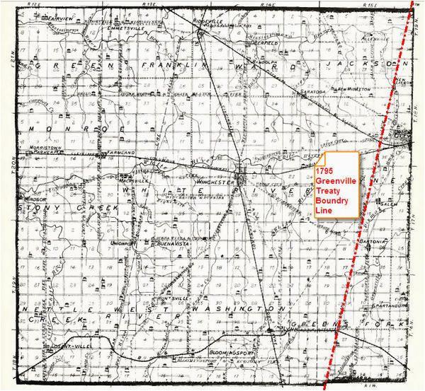 Map Of Greenville Ohio 1795 Greenville Treaty Line Map Randolph County Historical society