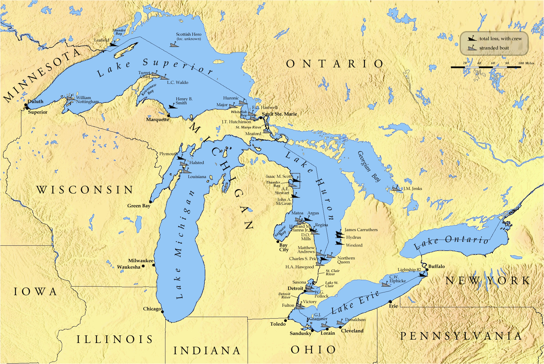 Map Of Silver Lake Michigan List Of Shipwrecks In the Great Lakes Wikipedia