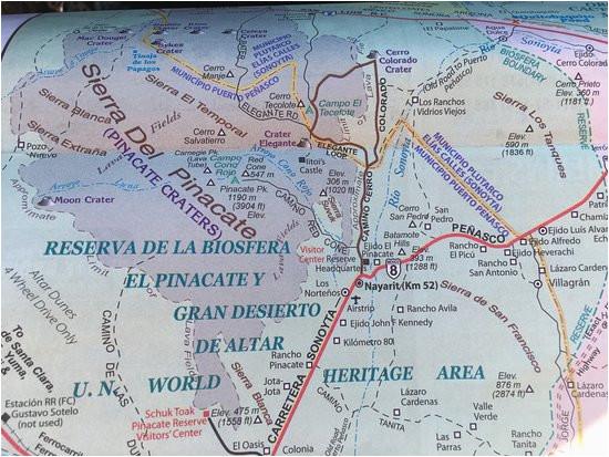 Map Of sonora California Map Of El Pinacate Y Gran Desierto De Altar Biosphere Reserve